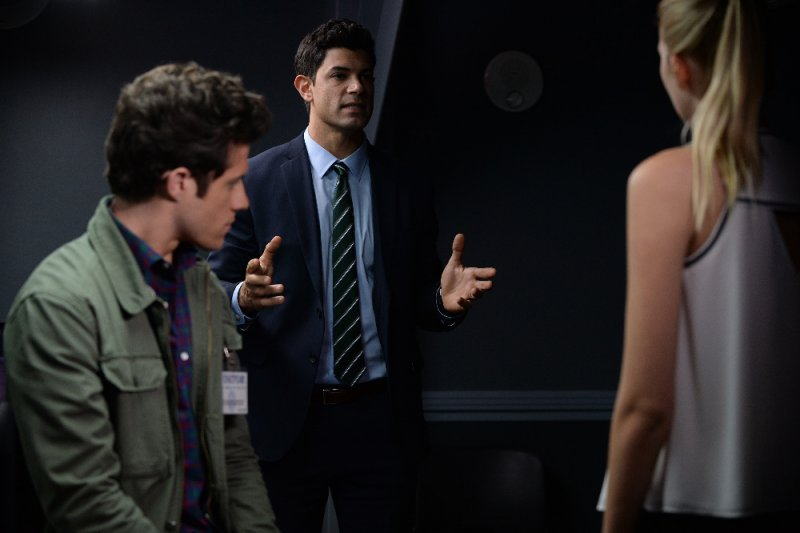 "STITCHERS - ""Connection"" - When it appears that a husband took out a hit on his wife, Kirsten and her team attempt to find out the truth in an all-new episode of ""Stitchers,"" airing Tuesday, June 16, 2015 at 9:00PM ET/PT on ABC Family. (ABC Family/Eric McCandless) KYLE HARRIS, DAMON DAYOUB"