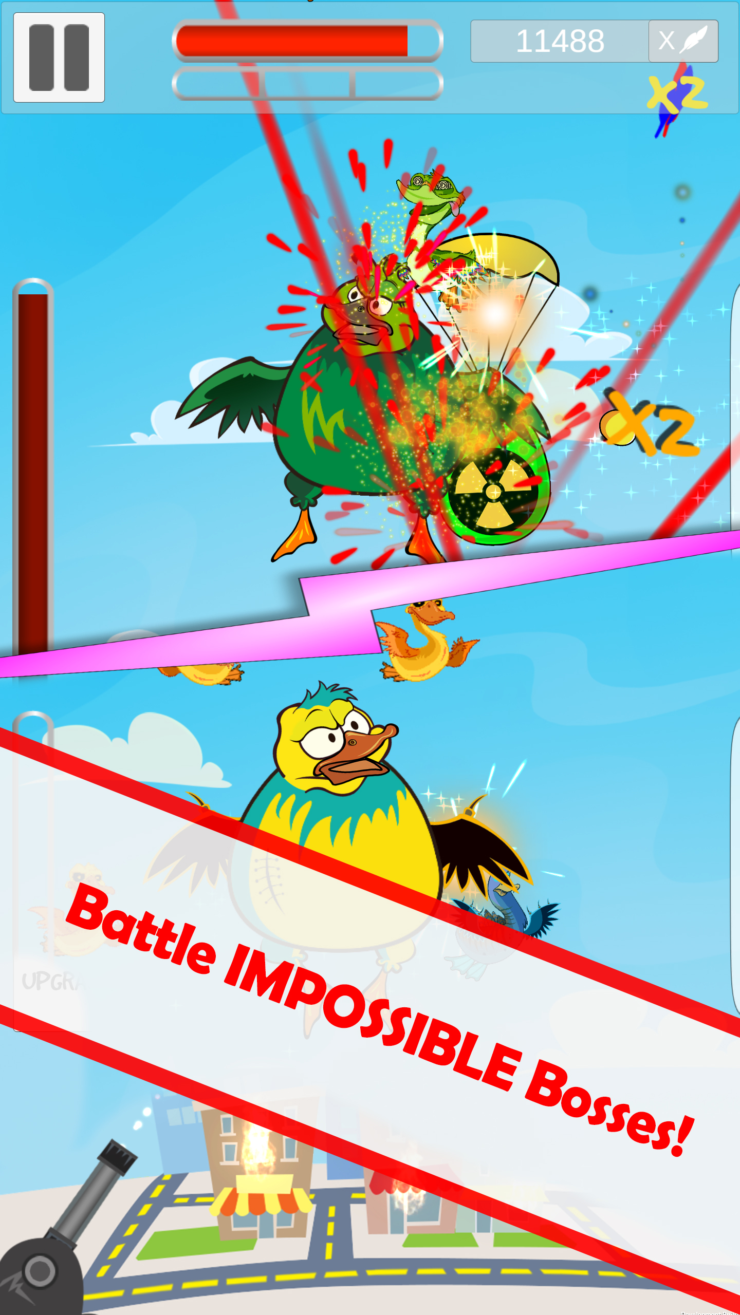 Mutant Duck Invasion Battle impossible bosses.