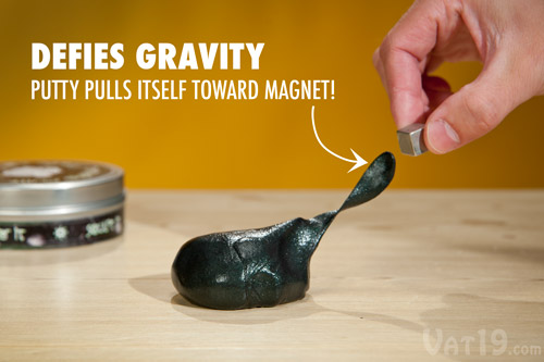 """In absence of magnets, behaves like any other type of putty While Magnetic Thinking Putty is a more highly evolved form of regular putty, it can still do all of the """"normal"""" things that you love about putty. Namely, you can bounce it, stretch it, and tear it -- all of which are still loads of fun."""
