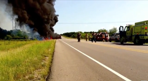 Crude Oil truck on fire located in Texas. Photo Courtesy of Luck Media & Marketing, Inc