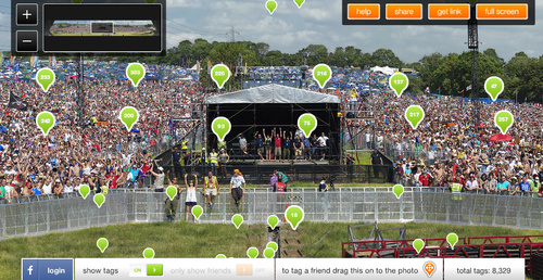36 ultra hi-res photos taken with two Hasselblad cameras at this year's Glastonbury Festival in England were stitched together to create a 1.3-gigapixel image. Of the 70,000 people captured, over 7,000 dirty revellers have tagged themselves on Facebook.