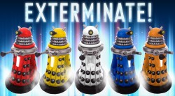 Brand new for 2011, this fantastic Dr Who Dalek is a collectible, fully functional Dalek. Obey the Daleks. Obey without question. Buy the ride-in-Dalek for $320 or you will be exterminated. Watch the video. Exterminate. Exterminate. Exterminate.