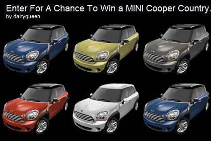Dairy Queen is rewarding kind deeds by giving away six 2011 MINI Cooper Countryman cars! Enter to win.