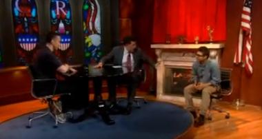 Dan Savage, Stephen Colbert and Colbert's Heterosexual Accountability Buddy on the set of The Colbert Report