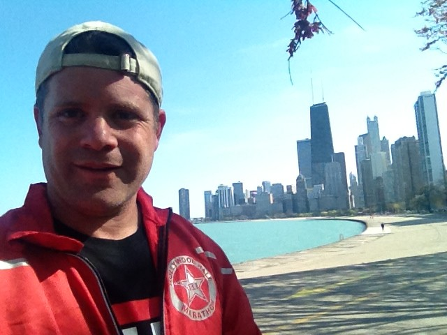 "Sean Astin photo from his Twitter Account @Sean Astin ""Who wouldn't love running her!!! Lakefront, Chicago"""