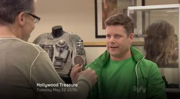 Sean Astin show his memorabilia collection to Joe Maddalena on Syfy - Hollywood Treasure.