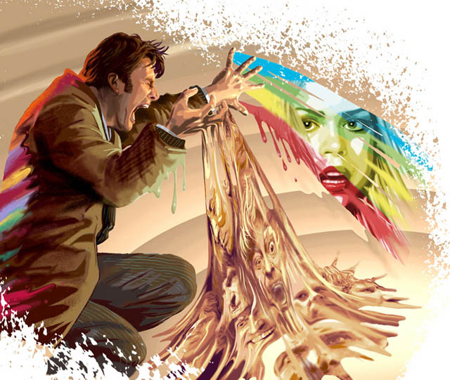 David Tennant and Billie Piper as Rose and The Doctor. If you look at the flow from his hands it his past incarnations.