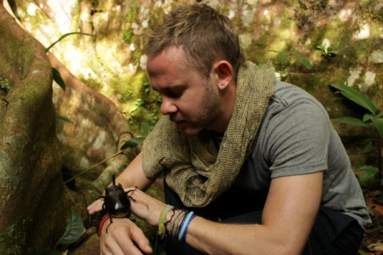 Dominic Monaghan Shown here with a bug co-star from his series Wild Things With Dominic Monaghan season one.