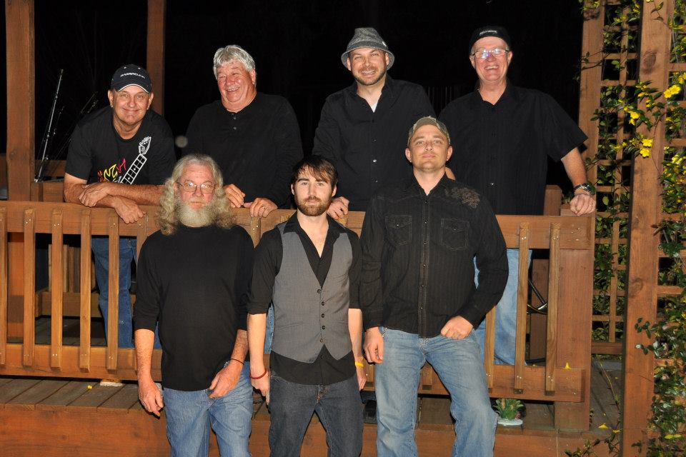 Justin Case Band member front row left to right Charlie Chesnut, Dow Young and Frank Freihofer. Back row Monty Savitz, Ronnie Baldwin, Matt Johns and Kenny Chinn.jpg